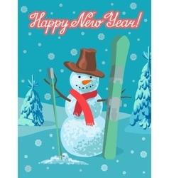 Winter sport snowman with ski vector
