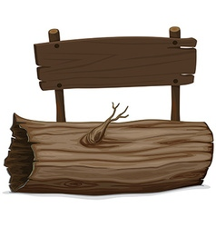Wooden log and sign vector image vector image