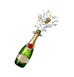 Champagne bottle with cork popping out vector