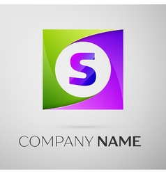 Letter s logo symbol in the colorful square on vector