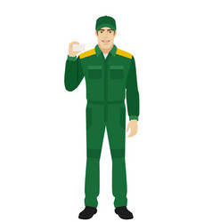 Man in uniform shows the business card vector