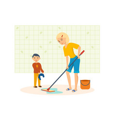 mother washes the floors with a mop in the room vector image