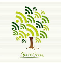 Green concept share icon tree vector