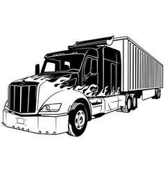 american truck with trailer vector image