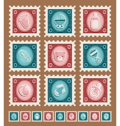 Baby shower stamps vector