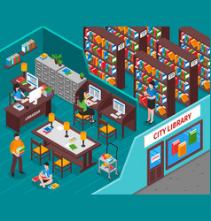 City library isometric vector