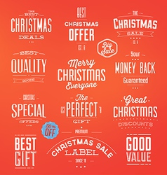Collection of typographic christmas sale labels vector