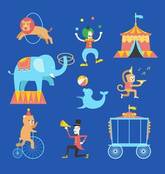 Circus theme icons set vector