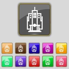 Skyscraper icon sign set with eleven colored vector
