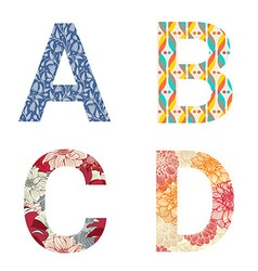 Set of colorful patterned letters vector