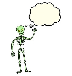 Cartoon waving skeleton with thought bubble vector