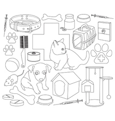 Veterinary pet icons vector