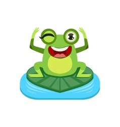 Happy cartoon frog character vector