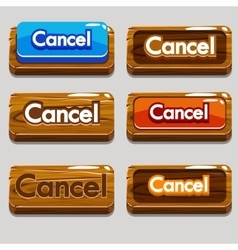 Cartoon wood buttons cancel for game vector
