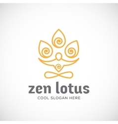 Zen Lotus Abstract Linear Style Logo vector image