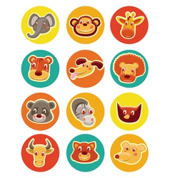 Funny animal heads - set of vector