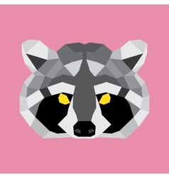 Grey and black low poly raccoon vector