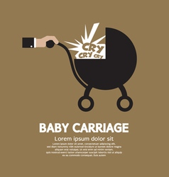 Baby carriage in hand vector