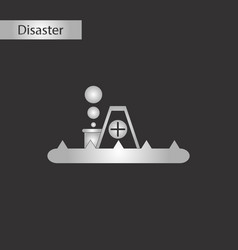 black and white style icon flood house vector image vector image