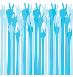 blue hand show victroy sign background vector image vector image