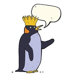 Cartoon emperor penguin waving with speech bubble vector