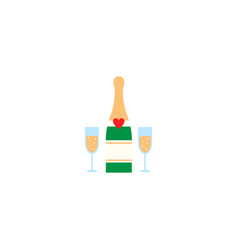 Champagne bottle with wine glasses solid icon vector