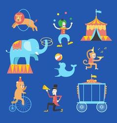 Circus theme icons set vector
