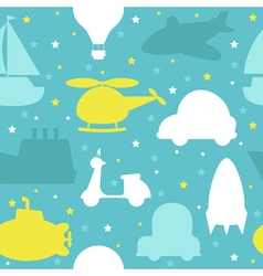 Cute seamless pattern with silhouette of transport vector image vector image