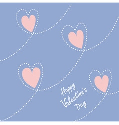 Dash line heart Happy Valentines day card Flat vector image vector image