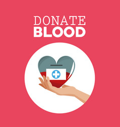 Donate blood hand holding heart care vector