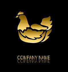 golden chicken symbol vector image vector image