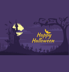 halloween background with old castle vector image