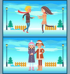 happy couple boy and girl running drinking tea vector image vector image