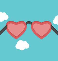 heart shaped pink glasses vector image vector image