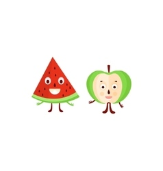 Humanized apple and watermelon vector