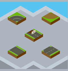 Isometric road set of bitumen turn without strip vector