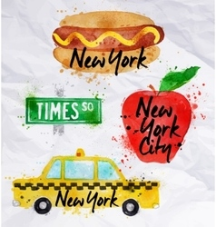 New york symbols taxi crumled paper vector