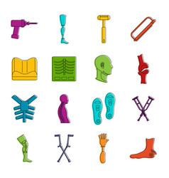 Orthopedics prosthetics icons doodle set vector