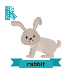 Rabbit R letter Cute children animal alphabet in vector image