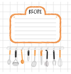 Recipe template with kitchen utensils vector
