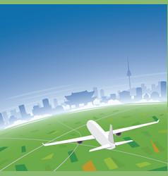 Seoul skyline flight destination vector