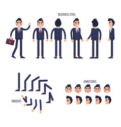 set of business style face emotions moves flat vector image