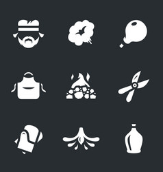 Set of glassblower icons vector