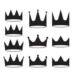 set of ten black crowns for heraldry design on vector image