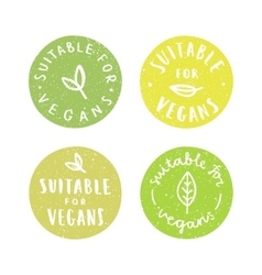 Suitable for vegans Set of vegan hand drawn vector image vector image