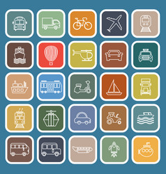Transportation line flat icons on blue background vector