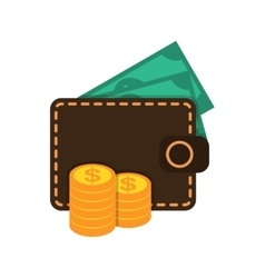 Wallet with money and coins vector image