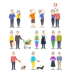 Set of senior people different activity cooking vector