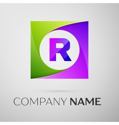 Letter r logo symbol in the colorful square on vector