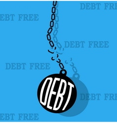 Debt with metal ball and chain break vector